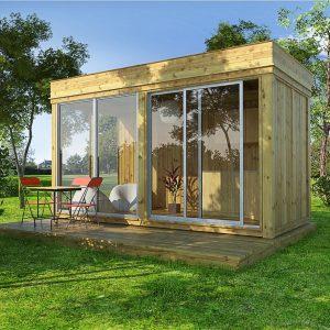 hagestue 4m x 2m byggesett med skyvedør